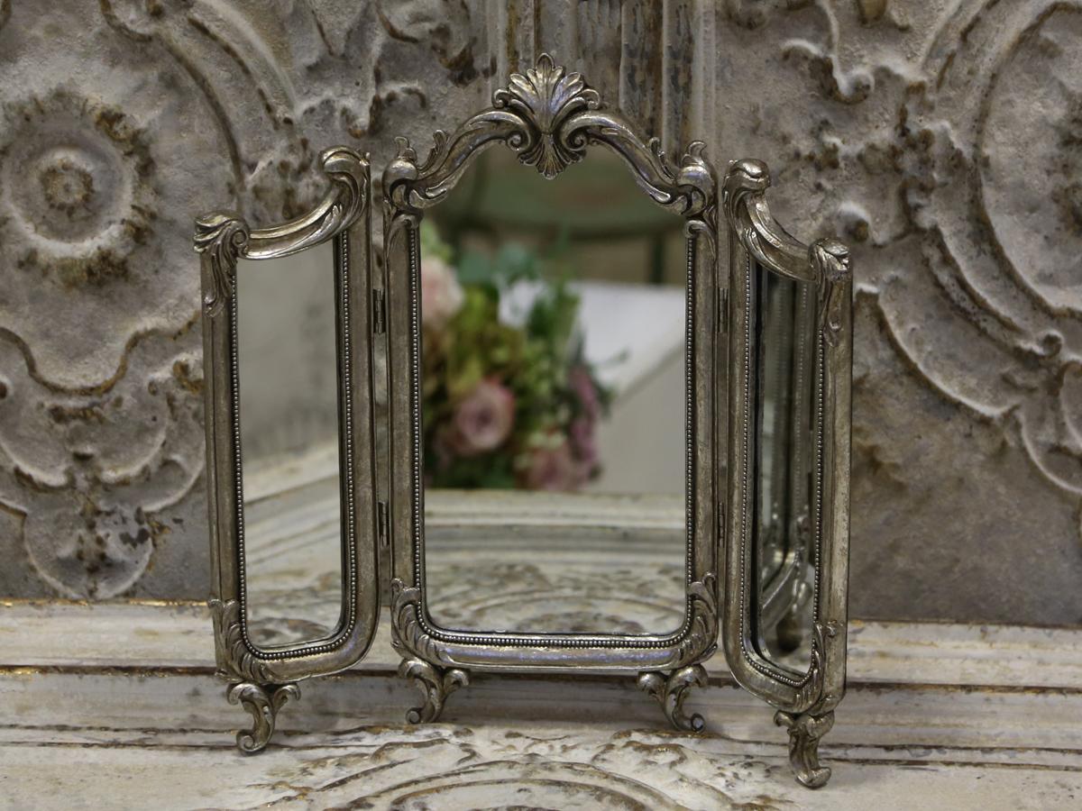 #4E5C3B Bedst Fransk 3 Fløjet Spejl I Antik Sølv Chic Antique Fransk Landkøkken Stil 4823 12009004823