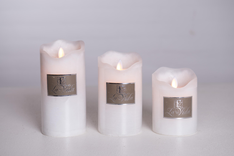 Stearinlys/bloklys til batteri med timer - hvid - large - La Vida