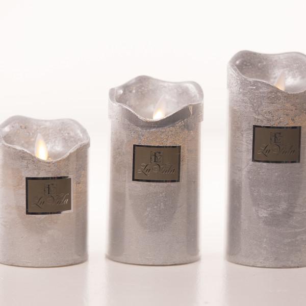 Stearinlys/bloklys til batteri med timer – sølv – large – La Vida